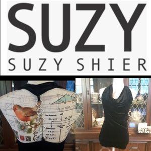 size S EUC Suzy Shier black velvet chain back top